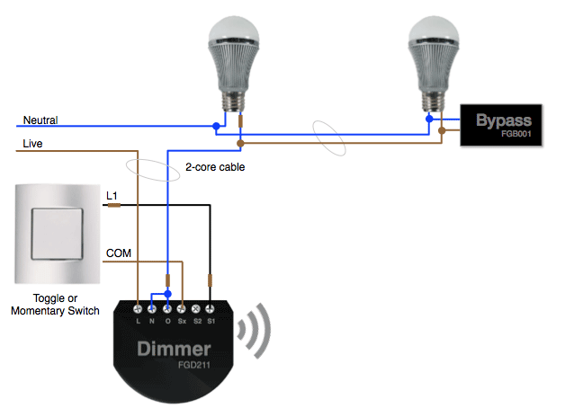 Fibaro Bypass Dimmer 2 diagram